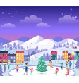 different people on icerink celebrating new year vector image