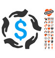 dollar care hands icon with love bonus vector image vector image