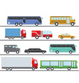 flat design city transportation icons trucks vector image vector image