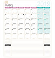 french calendar - march 2019 vector image vector image