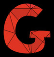 g red alphabet letter isolated on black background vector image