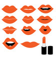 girl mouths close up with orange lipstick make up vector image vector image