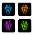 glowing neon electric plug icon isolated on white vector image vector image