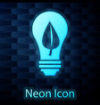 glowing neon light bulb with leaf icon isolated on vector image vector image