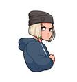 grumpy modern anime girl with earphones vector image