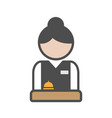 hotel receptionist with uniform and bell vector image