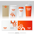 identity orange style mockup packages paper cup vector image