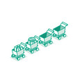 isometric shopping supermarket cart standing vector image vector image