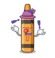 juggling orange crayon in a cartoon wallet vector image vector image