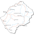 Lesotho Black White Map vector image vector image