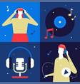 Listening to music - flat design style colorful