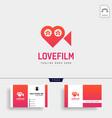 love movie heart cinema film creative simple logo vector image