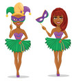 mardi gras jester woman in mask and without mask vector image