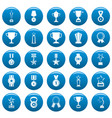 medal award icons set blue simple style vector image