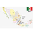 mexico administrative and political map with flag vector image
