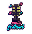 neon music festival retro microphone background ve vector image vector image