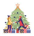 people christmas tree decoration vector image