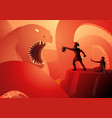 perseus saves andromeda from sea monster cetus vector image vector image