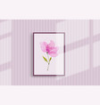pink watercolor flower hand-painted on a wall vector image vector image