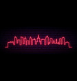 red neon skyline warsaw city bright warsaw vector image vector image