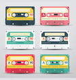 retro audio cassettes set - cassete icons vector image