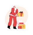 santa claus is holding gifts for kids saint vector image vector image