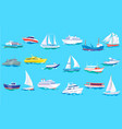 sea ship boat and yacht set ocean or marine vector image