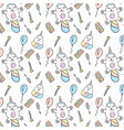 seamless pattern with unicorn cats vector image