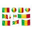 set mali flags banners banners symbols vector image