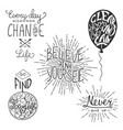 set motivational lettering for greeting cards vector image vector image