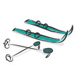 simple cartoon a pair blue snowskis on vector image