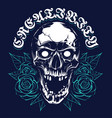 skull with roses grunge print design vector image vector image