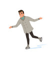 smiling young man in warm clothes ice skating vector image vector image