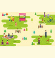 summer public park with active people family vector image
