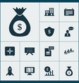 teamwork icons set with planning board protection vector image vector image