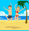 teenage couple jumping on tropical beach vector image