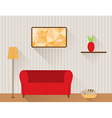 The living room with red sofa and cat vector image