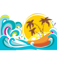 Tropical island with waves background vector | Price: 1 Credit (USD $1)