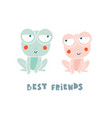two cute frogs characters isolated on white vector image