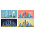 urban city set morning vector image