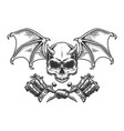 vintage monochrome demon skull with wings vector image