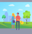 young couple walking in park cartoon skyscrapers vector image vector image