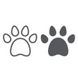 animal footprint line and glyph icon pet and vector image vector image