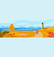 autumn landscape concept with lighthouse on an vector image vector image