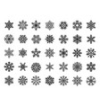 black festive snowflakes set christmas vector image