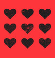 black grunge hearts set distressed texture heart vector image vector image