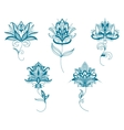 Blue persian flowers in paisley style vector image vector image