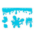 blue sticky slime various liquid elements set vector image vector image
