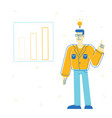 business man with glowing light bulb above head vector image