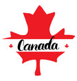 canada hand drawn maple leaf with calligraphy vector image vector image